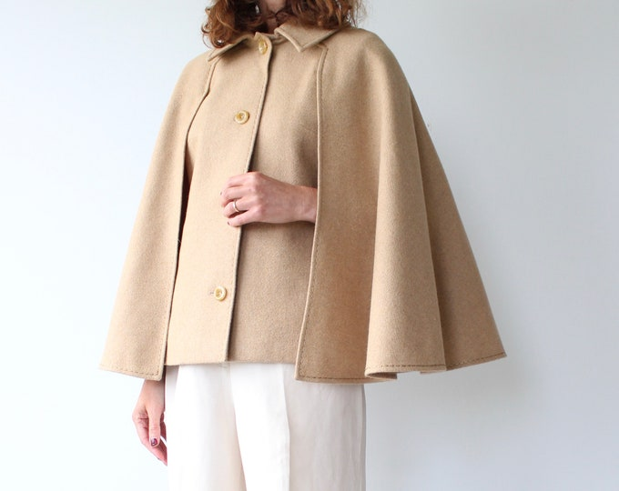 Featured listing image: Vintage 1970s Mono Short Camel Cape