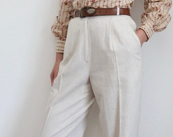 Natural Flax High Waist Pleated Long Linen Mix Trousers