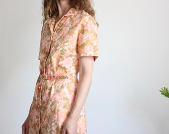 60's Coral Pink Floral Shirt Dress