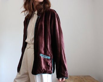 Brown Velvet Jacket With Turquoise Trim