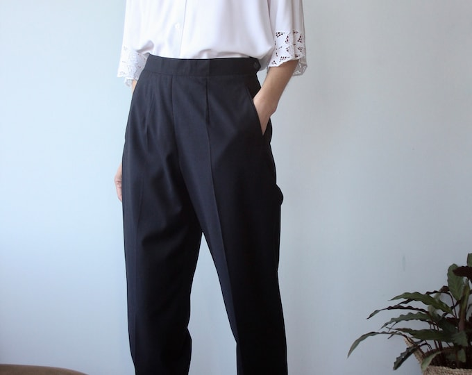 Loro Piana Vintage Navy Italian Flat Fronted Pleated Super 110's Pants Trousers