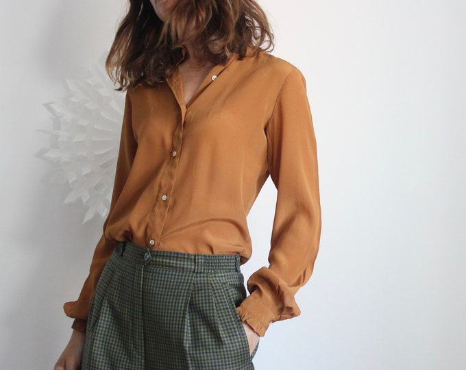 Tan Brown Silk Blouse With Frill Cuffs and Collar Size UK 8