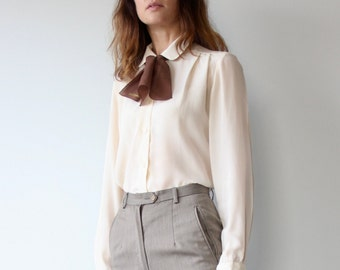 Round Collar Silk Ivory Blouse
