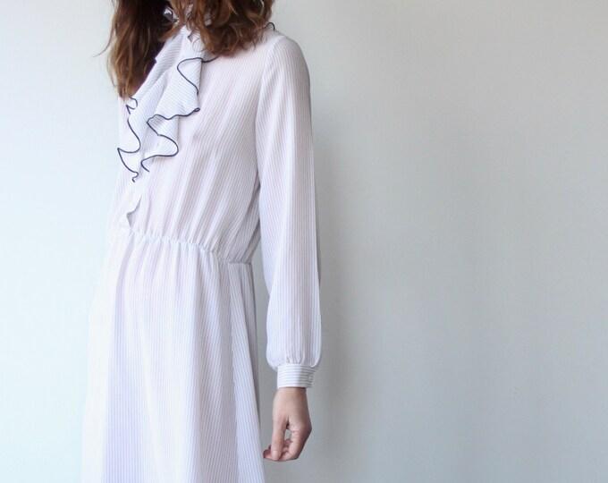 Vintage 70s Stripe Ruffle Frill Edwardian Collar Wallis Dress