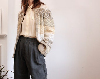 Escada Mohair Gold 1980s Quilted Cardigan