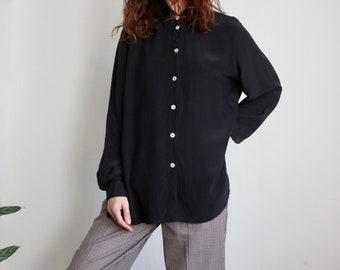 Charcoal Black Silk Button Blouse