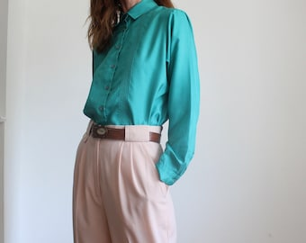 Jade Green Pleated Silky Blouse