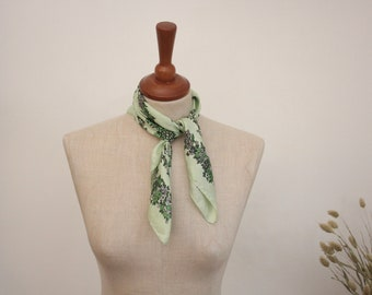 Hand Rolled Green Silk Scarf By Jacqmar