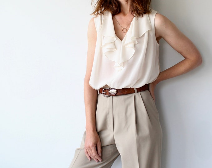Cream Sleeveless Frill Top By Jeffrey Masters