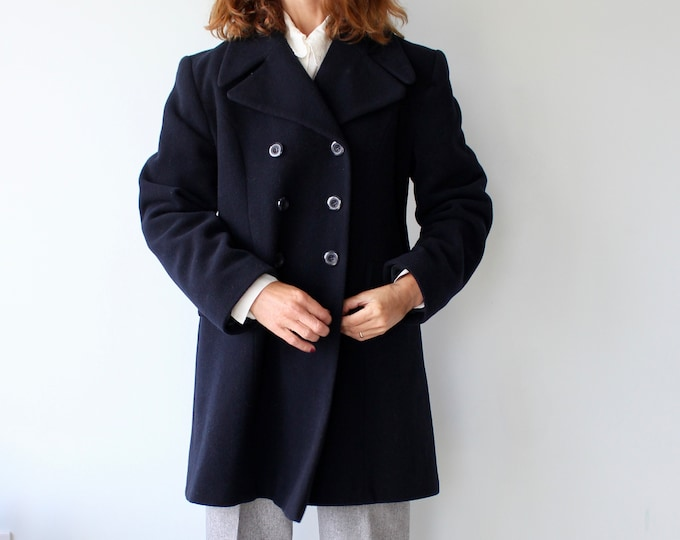 Featured listing image: Navy Mid Length Wool Mix Peacoat