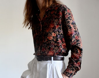Brown Floral Print Fitted Blouse