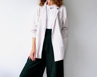 Vintage 80s Rainbow Stripe Oversized Shirt Jacket