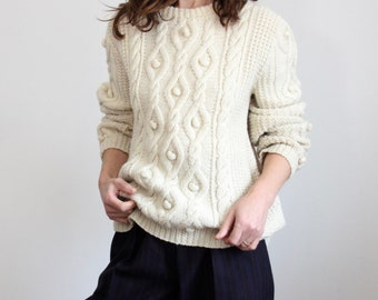 Bobble Cable Knit Hand Knitted 1970's Jumper