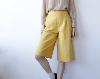 Vintage Yellow Bermuda Style Linen Shorts