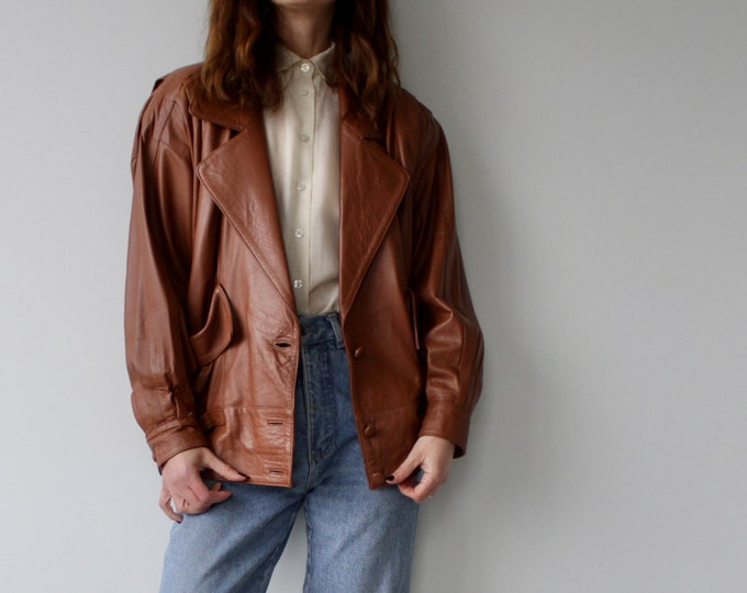Vintage 80s Soft Tan Leather Batwing Jacket