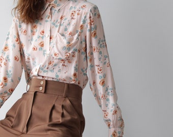 All Silk Vintage 80s Alba Fornari Floral Blouse