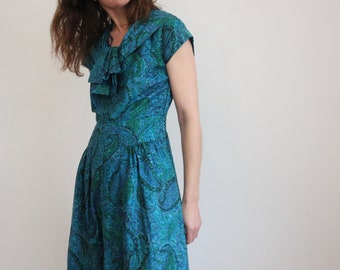 60s Paisley Print Cocktail Dress With Shawl Collar