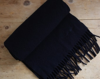 Navy Robert Cavalli Wool Scarf