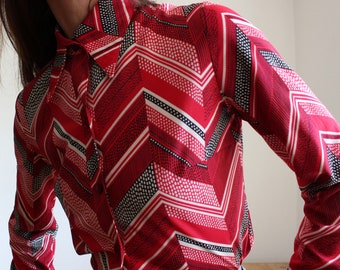 Red Geometric 1970s Blouse by Lerose