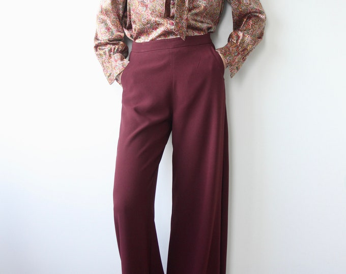 Max & Co Burgundy Wide Leg Trousers