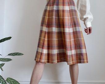 Petite Plaid Check 1970's Full Midi Skirt