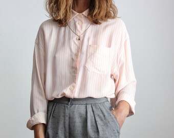 Luisa Spagnoli Pink Candy Stripe Italian Silk Blend Shirt