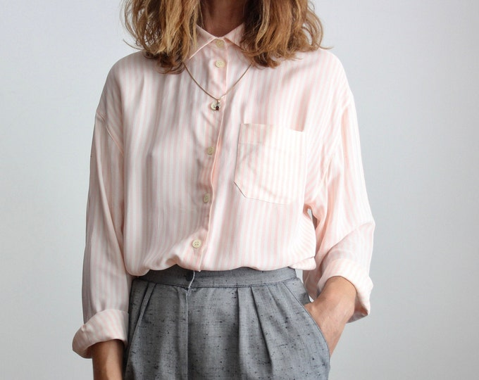 Featured listing image: Pink Candy Stripe Italian Silk Blend Shirt By Luisa Spagnoli