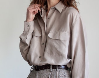 Vintage 80's Taupe Silk Pocket Blouse
