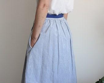 Cacharel Nautical 70s Blue Stripe Skirt