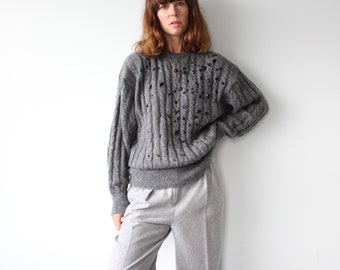ESCADA by Margaretha Ley Beaded 1980s Cable Knit Wool 80s Jumper