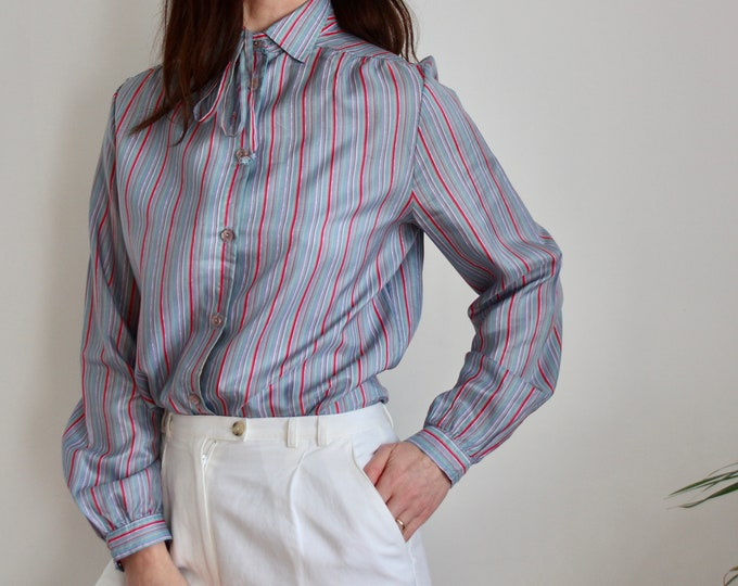 1970's Stripe Tie Blouse UK 10-12