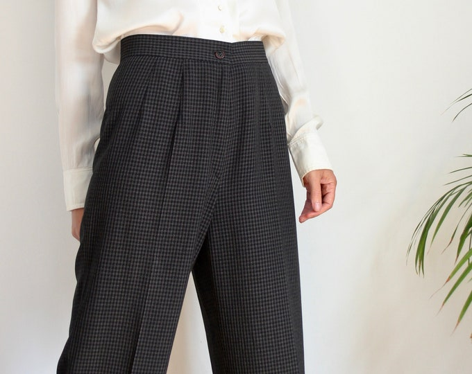 Tall High Waisted Check Trousers