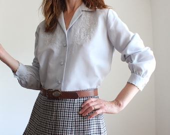 Vintage Grey Embroidered Blouse