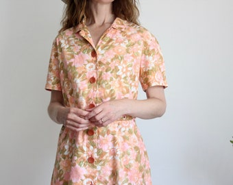 60's Coral Pink Floral Shirt Dress