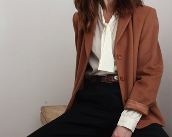 Brown 80's Alexon Wool & Silk Blazer