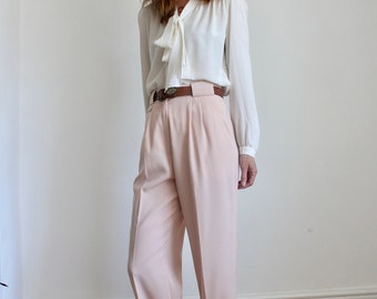 Vintage Jacques Vert Pink High Waist Pleat Wide Trousers