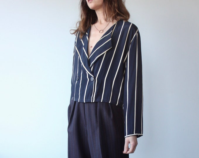 Navy Stripe Short Double Breasted Blouse
