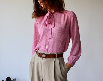 Pink Pussy Bow 70s Blouse