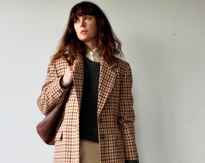 Vintage Jaeger 1980s Pure New Wool Check Oversized Blazer