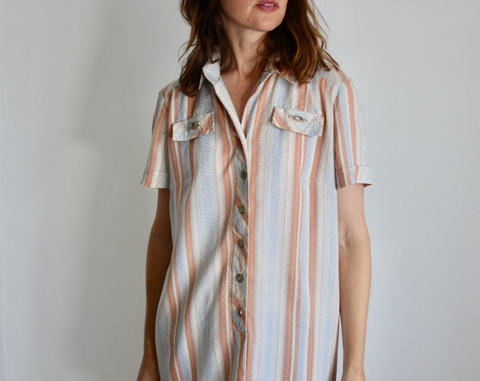 Carnegie Stripe  Short Sleeve Shirt Dress