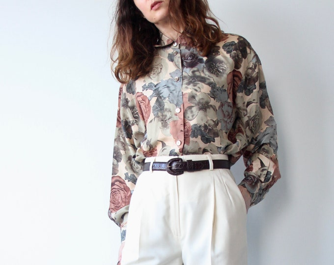 Betty Barclay All Silk Floral Print 80s Loose Fit Blouse