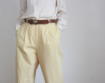 Yellow Wide 80s Pleat Front Pants Trousers