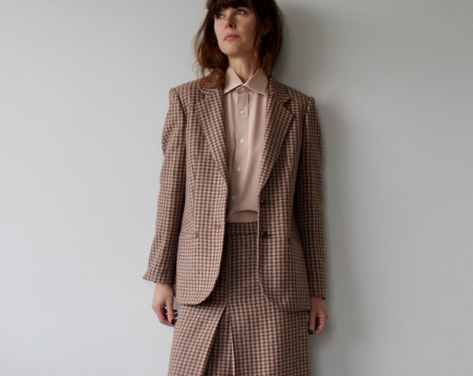 Vintage 80s Check Wool Skirt Suit