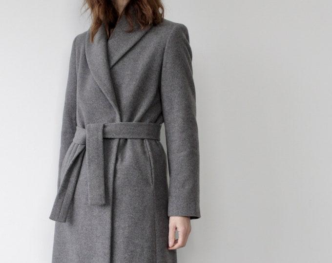 Grey Virgin Wool Wrap Belted Coat by Sisley