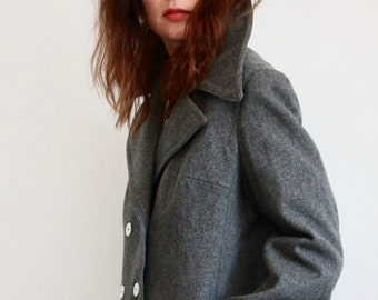 Grey Jaeger Military Style Wool 1970's Coat