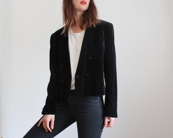 80's Black Velvet Tuxedo Cropped Evening Jacket