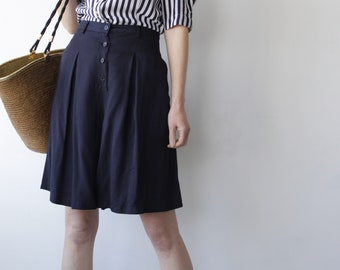 Navy Blue Nautical Trussardi Tailored and Pleated Shorts