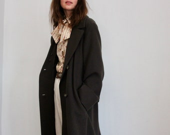Long Brown Wool Winter Coat With Removable Faux Fur Collar