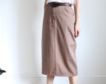 Long Vintage Preppy Style 90's Brown Cotton Skirt