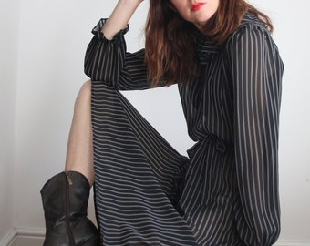 Black Stripe Frill Collar Dress